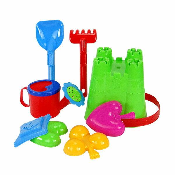 【888便利購】8件式城堡版玩沙工具組(沙灘桶)(附城堡水桶可做城堡造型)