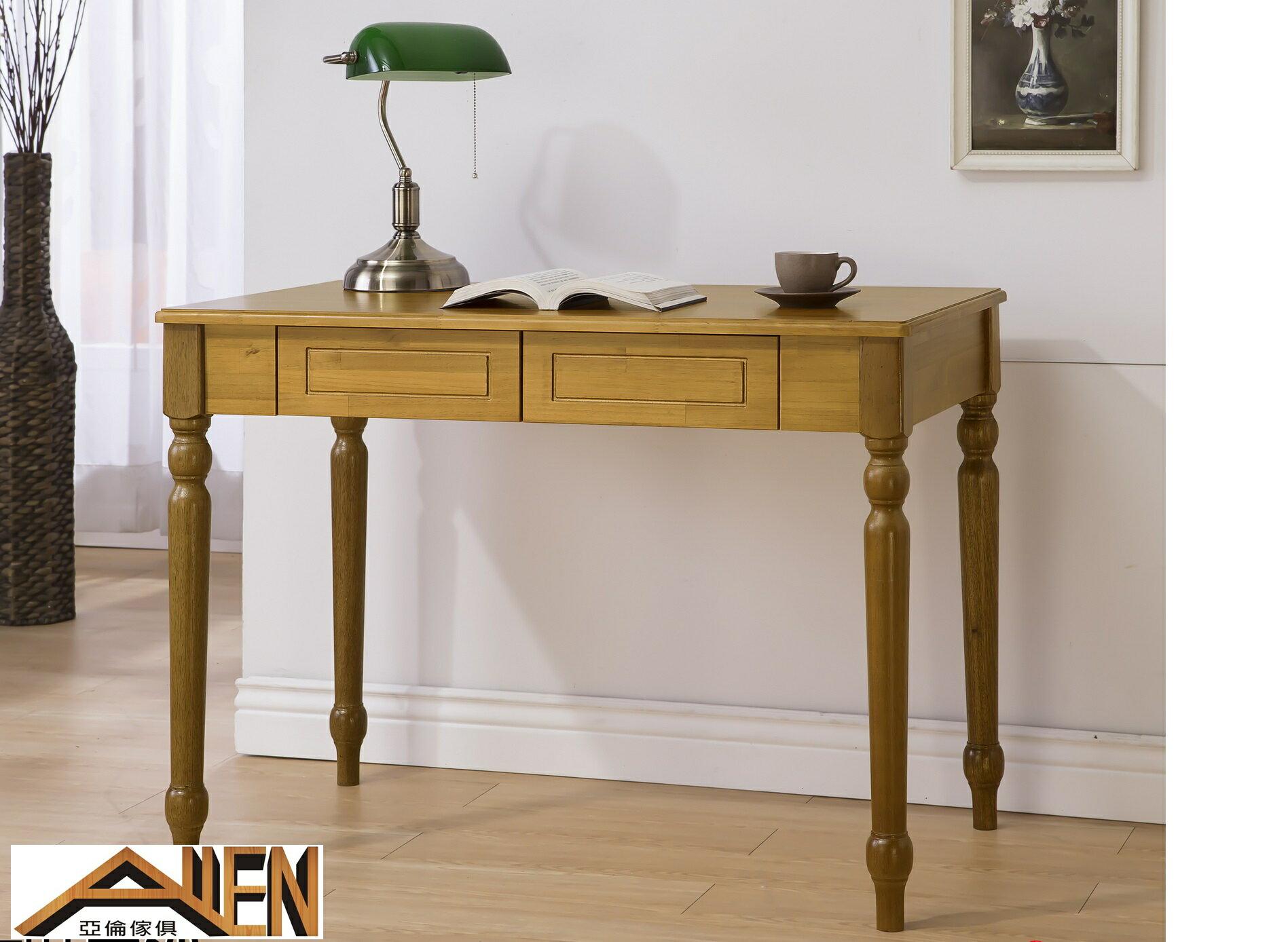 亞倫傢俱*莉莎紐松全實木100公分書桌(樟木色)